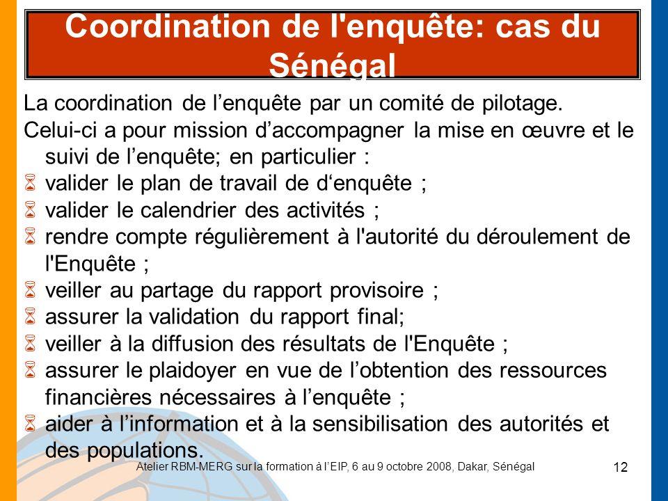 Coordination de l enquête: cas du Sénégal