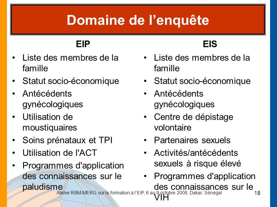 Domaine de l'enquête EIP EIS Liste des membres de la famille