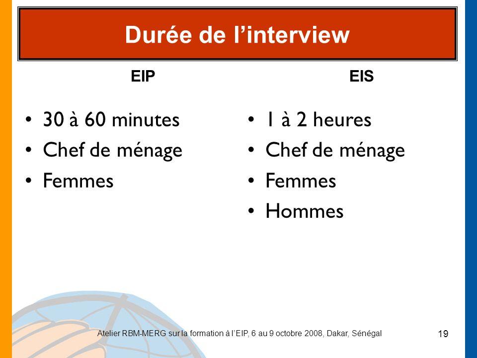 Durée de l'interview 30 à 60 minutes Chef de ménage Femmes