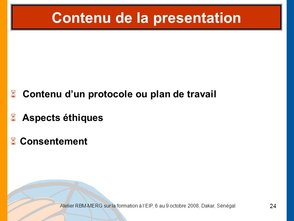 Contenu de la presentation