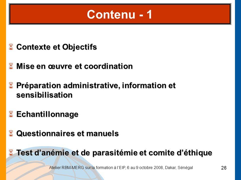 Contenu - 1 Contexte et Objectifs Mise en œuvre et coordination