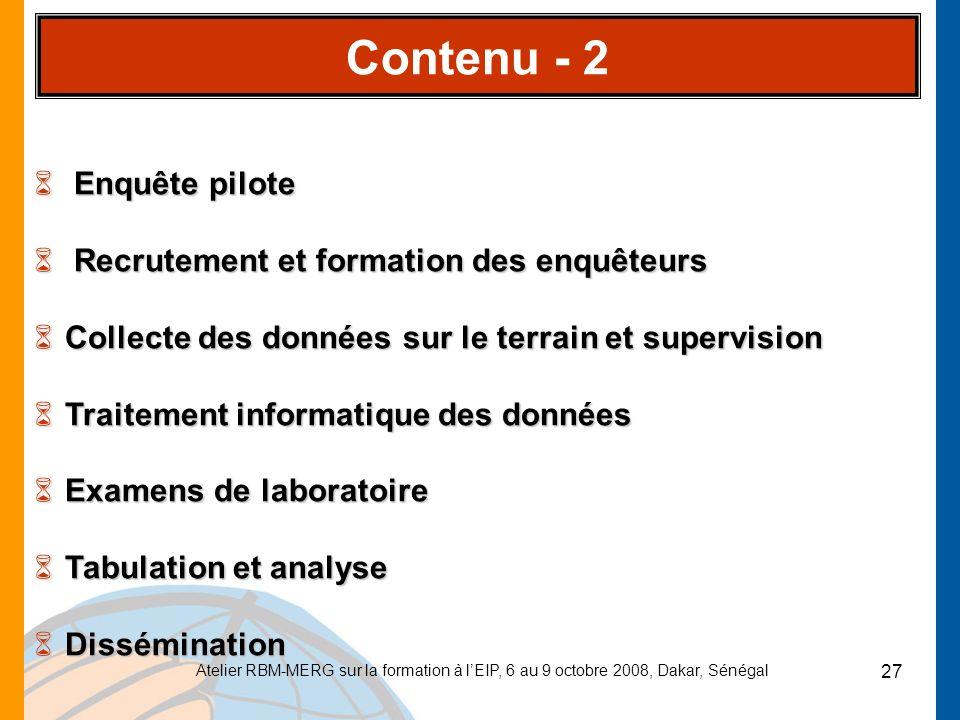 Contenu - 2 Enquête pilote Recrutement et formation des enquêteurs