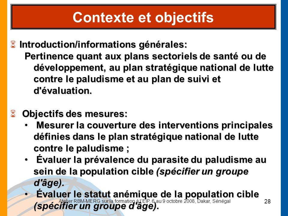 Contexte et objectifs Introduction/informations générales: