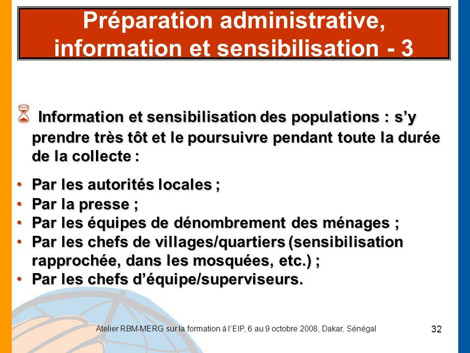 Préparation administrative, information et sensibilisation - 3
