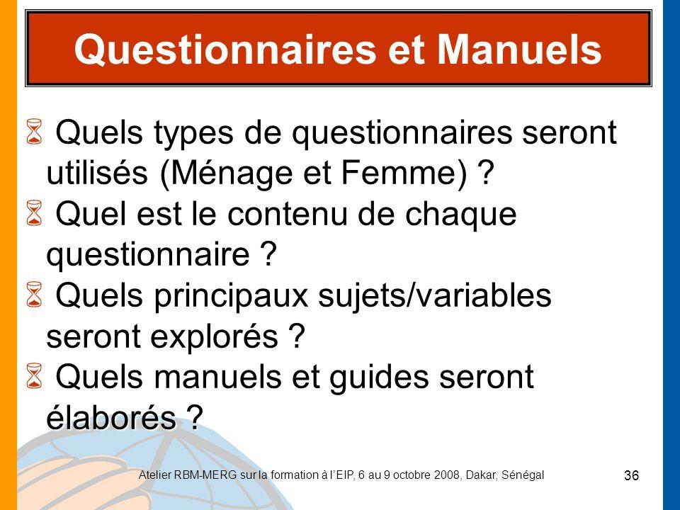 Questionnaires et Manuels