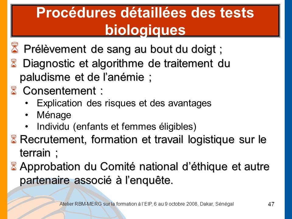 Procédures détaillées des tests biologiques