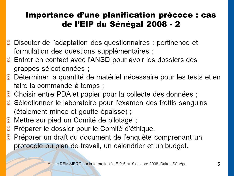Importance d'une planification précoce : cas de l'EIP du Sénégal 2008 - 2