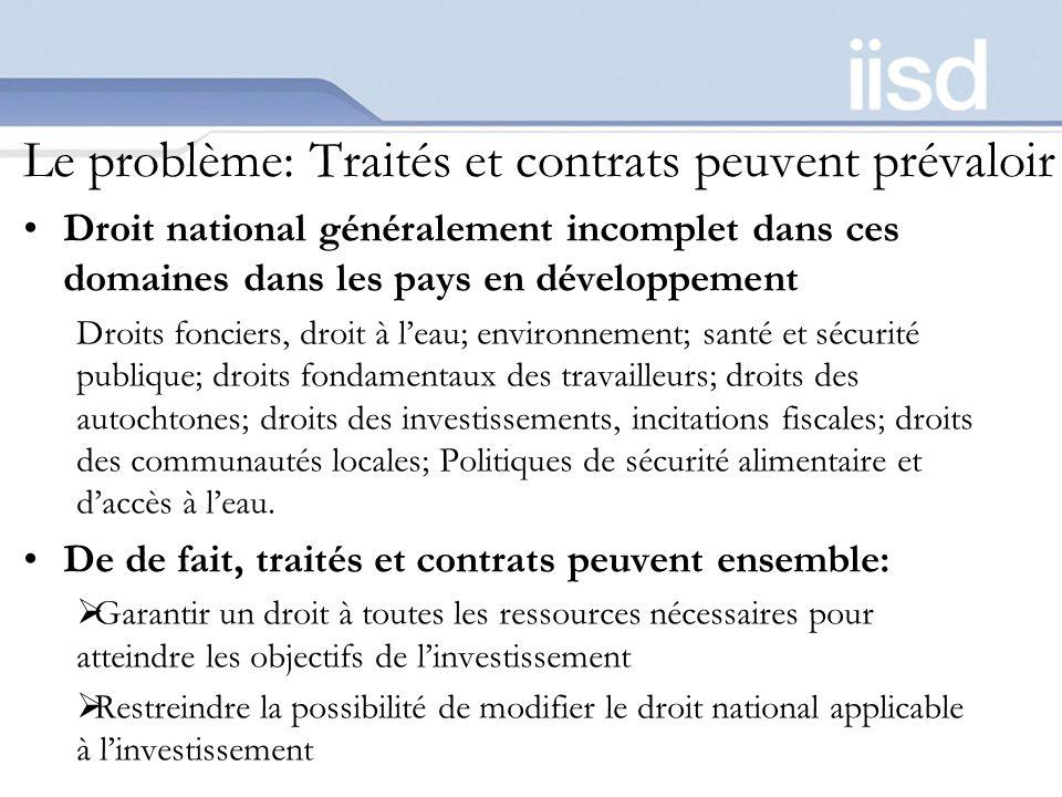 Le problème: Traités et contrats peuvent prévaloir