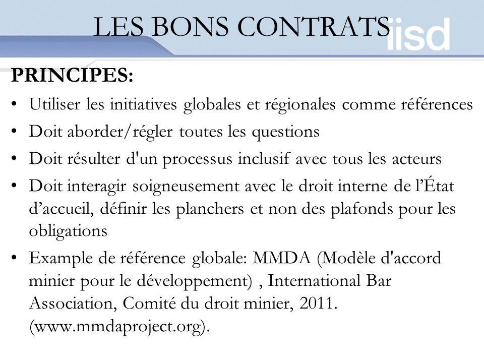 LES BONS CONTRATS PRINCIPES: