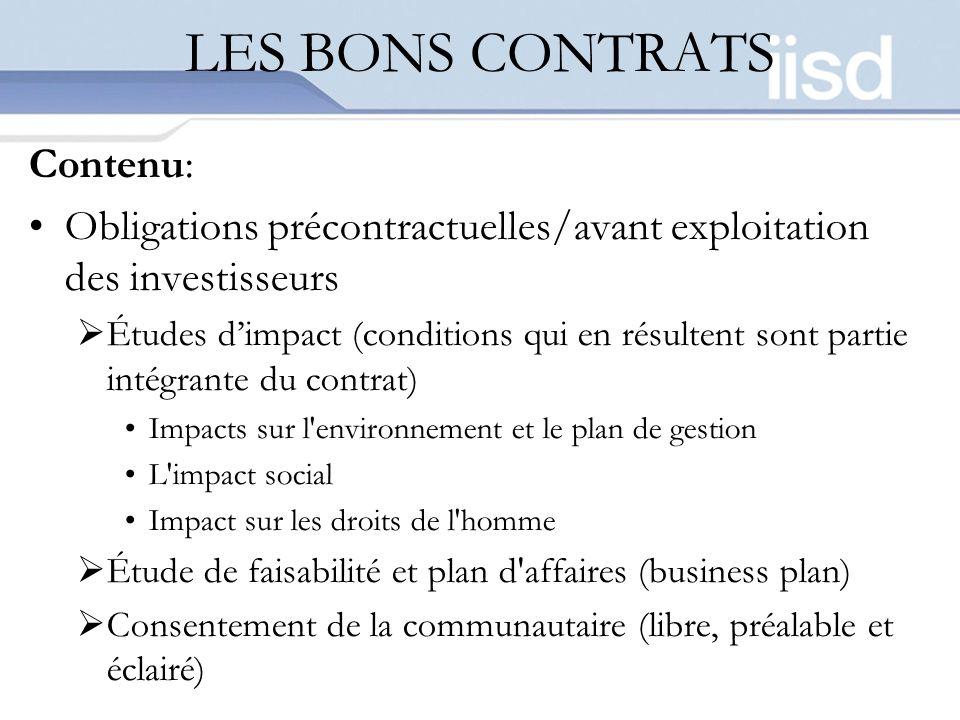 LES BONS CONTRATS Contenu: