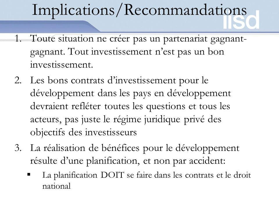 Implications/Recommandations