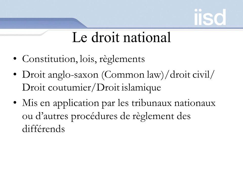 Le droit national Constitution, lois, règlements