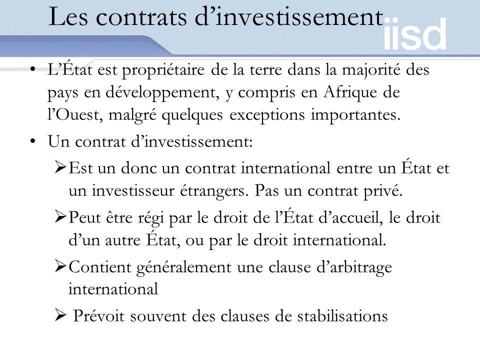 Les contrats d'investissement