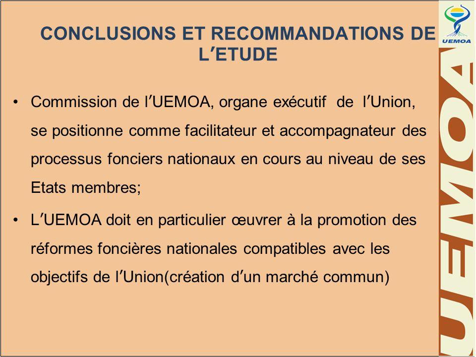 CONCLUSIONS ET RECOMMANDATIONS DE L'ETUDE
