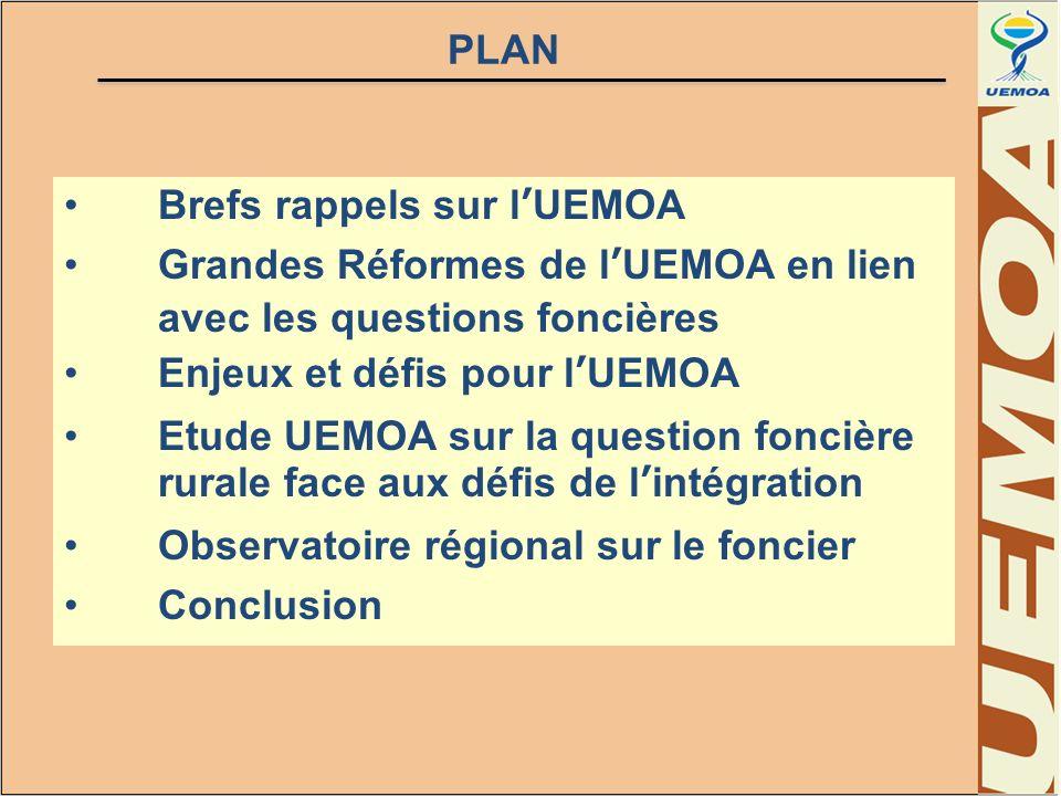 PLAN Brefs rappels sur l'UEMOA. Grandes Réformes de l'UEMOA en lien avec les questions foncières. Enjeux et défis pour l'UEMOA.