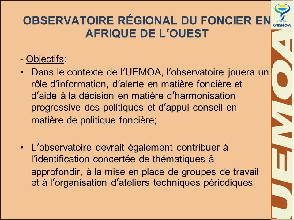 OBSERVATOIRE RÉGIONAL DU FONCIER EN AFRIQUE DE L'OUEST