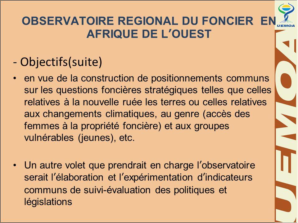 OBSERVATOIRE REGIONAL DU FONCIER EN AFRIQUE DE L'OUEST