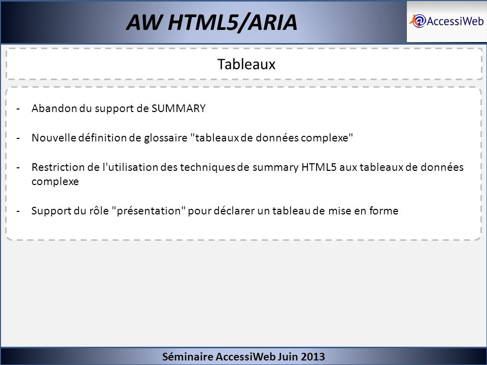 AW HTML5/ARIA Tableaux Abandon du support de SUMMARY