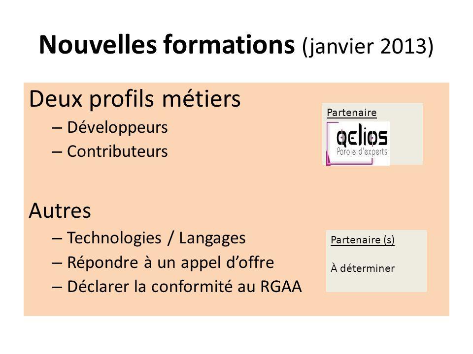 Nouvelles formations (janvier 2013)