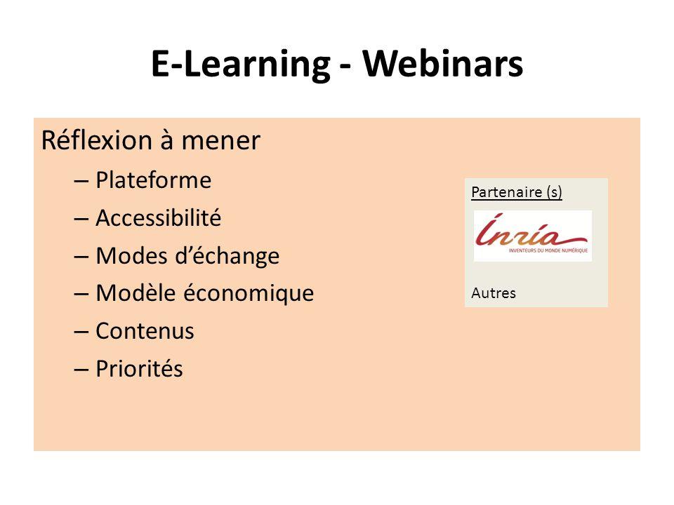 E-Learning - Webinars Réflexion à mener Plateforme Accessibilité
