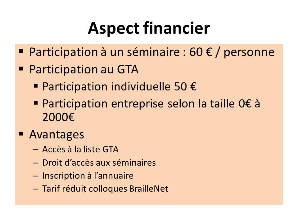 Aspect financier Participation à un séminaire : 60 € / personne