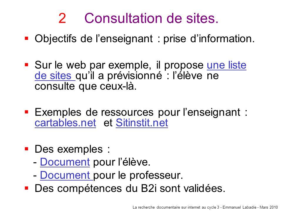 Consultation de sites. Objectifs de l'enseignant : prise d'information.