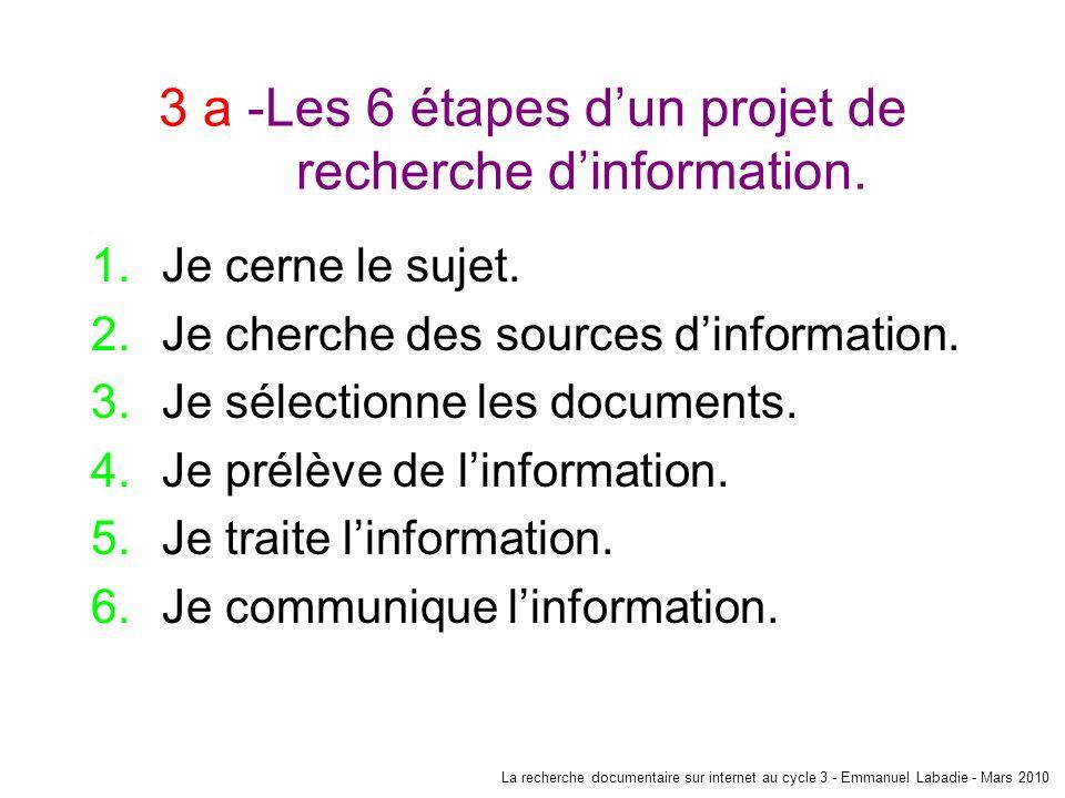 3 a -Les 6 étapes d'un projet de recherche d'information.