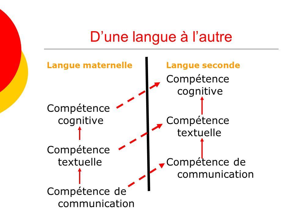 D'une langue à l'autre Compétence cognitive Compétence cognitive