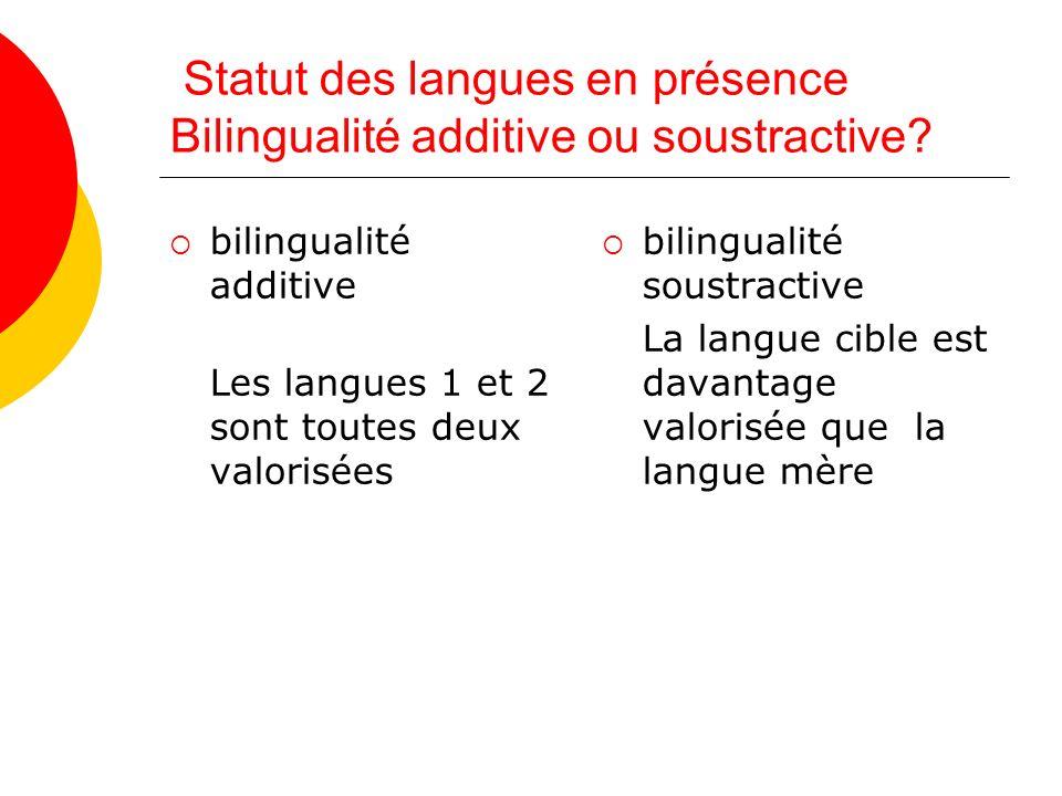 Statut des langues en présence Bilingualité additive ou soustractive