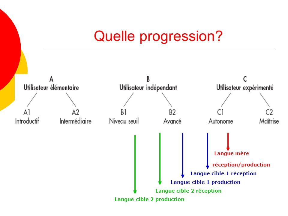 Quelle progression Langue mère réception/production
