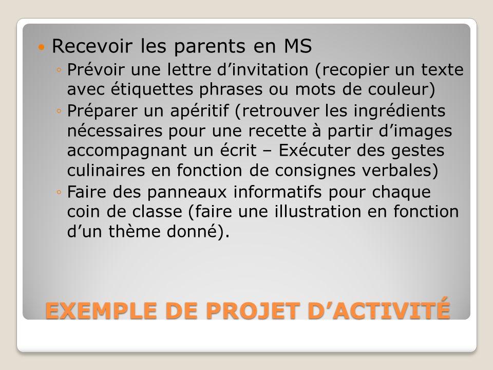 EXEMPLE DE PROJET D'ACTIVITÉ