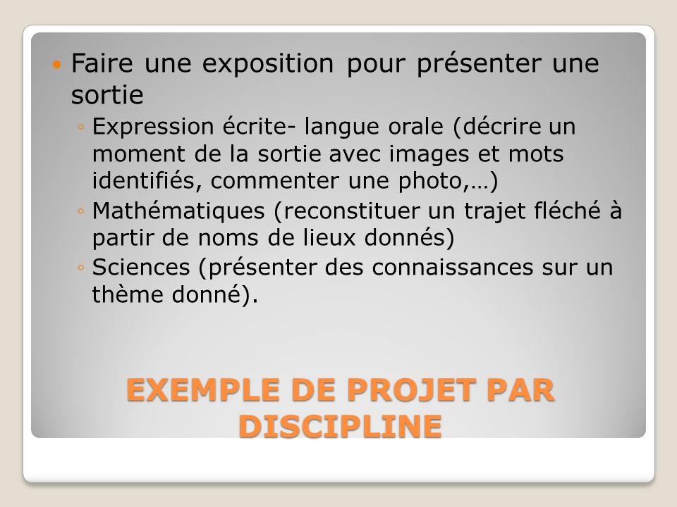 EXEMPLE DE PROJET PAR DISCIPLINE