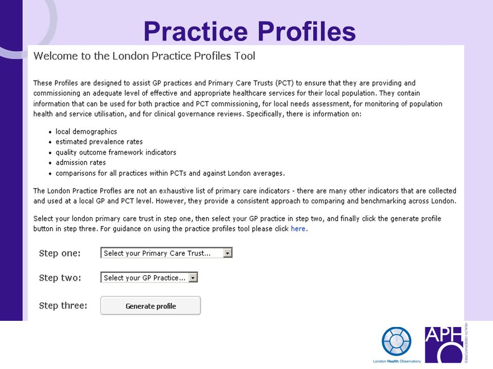 Practice Profiles This slide shows a screenshot of the initial choices presented to the user.