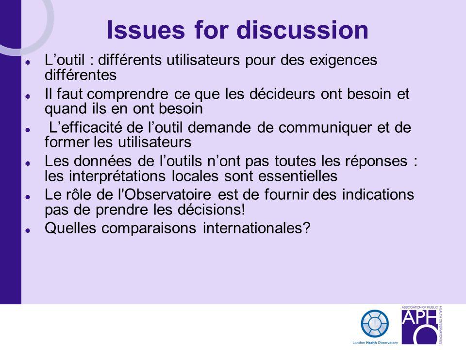 Issues for discussion L'outil : différents utilisateurs pour des exigences différentes.