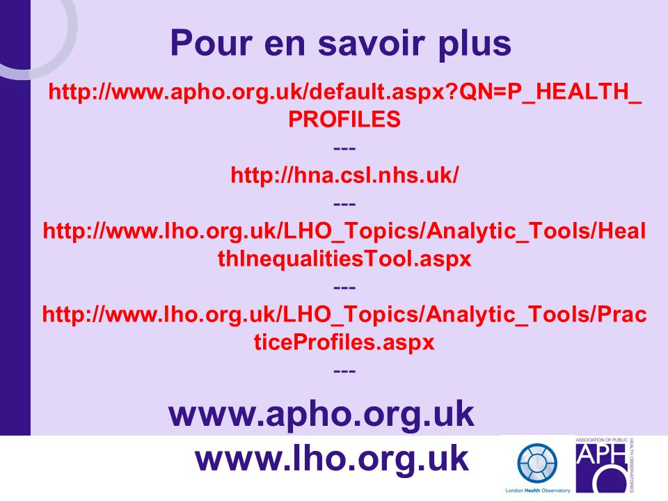 www.apho.org.uk www.lho.org.uk
