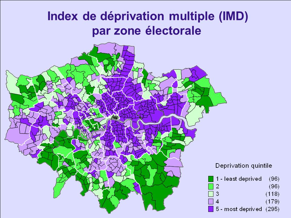 Index de déprivation multiple (IMD) par zone électorale