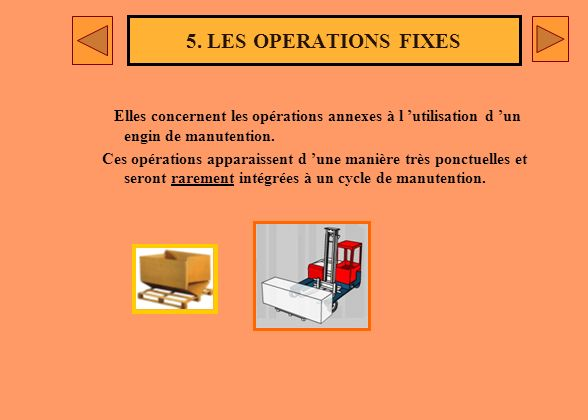5. LES OPERATIONS FIXES Elles concernent les opérations annexes à l 'utilisation d 'un engin de manutention.