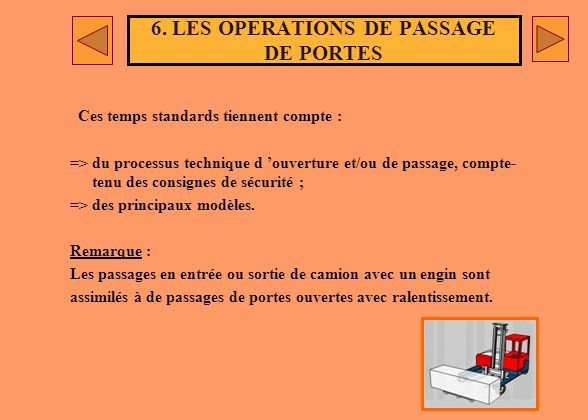 6. LES OPERATIONS DE PASSAGE DE PORTES