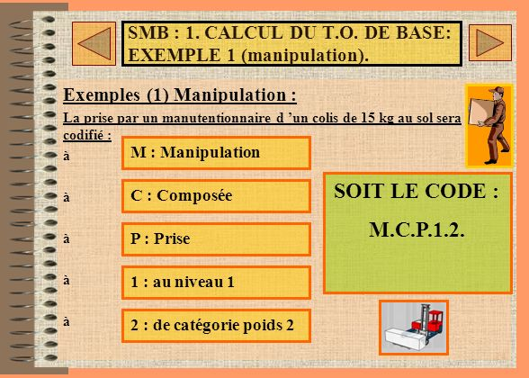 SMB : 1. CALCUL DU T.O. DE BASE: EXEMPLE 1 (manipulation).