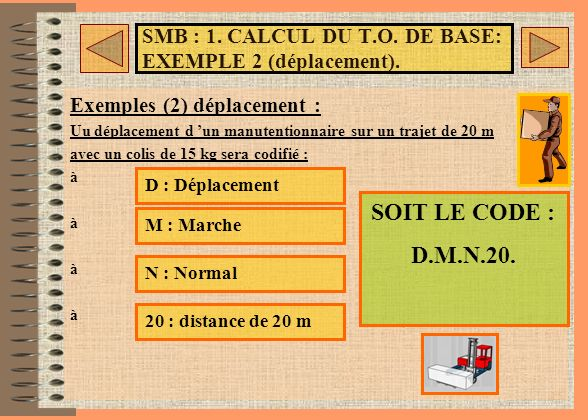 SMB : 1. CALCUL DU T.O. DE BASE: EXEMPLE 2 (déplacement).