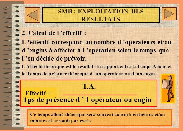 SMB : EXPLOITATION DES RESULTATS