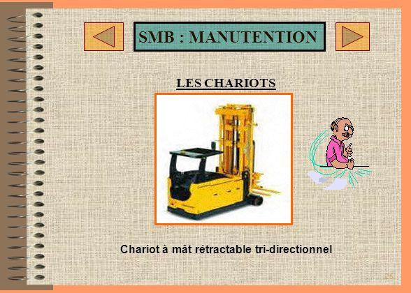 LES CHARIOTS Chariot à mât rétractable tri-directionnel
