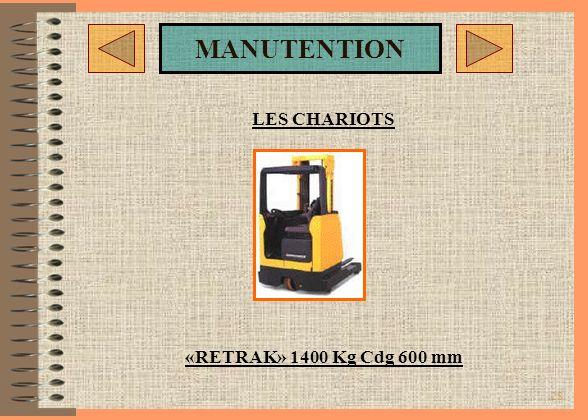 LES CHARIOTS «RETRAK» 1400 Kg Cdg 600 mm