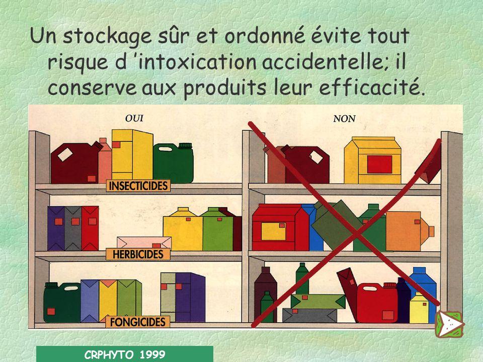 Un stockage sûr et ordonné évite tout risque d 'intoxication accidentelle; il conserve aux produits leur efficacité.
