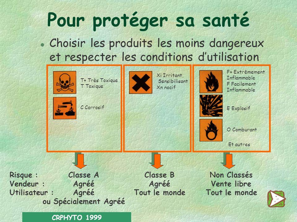 Pour protéger sa santé Choisir les produits les moins dangereux et respecter les conditions d'utilisation.