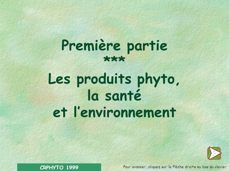 Première partie *** Les produits phyto, la santé et l'environnement