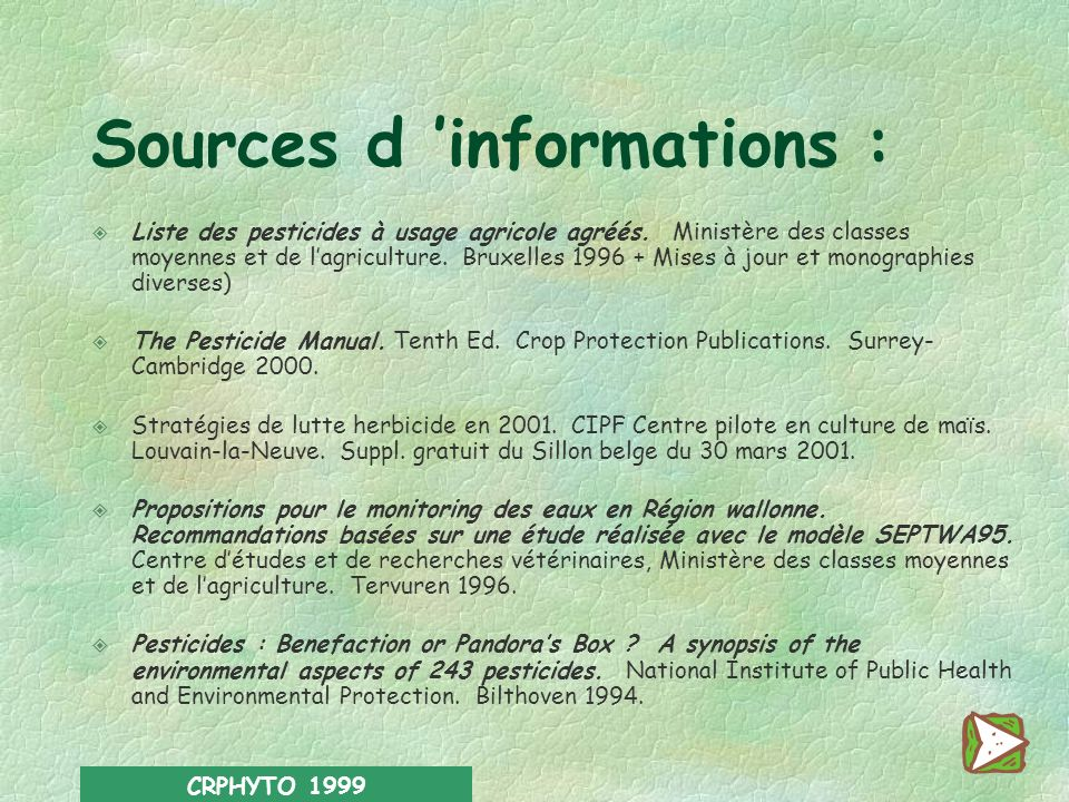 Sources d 'informations :