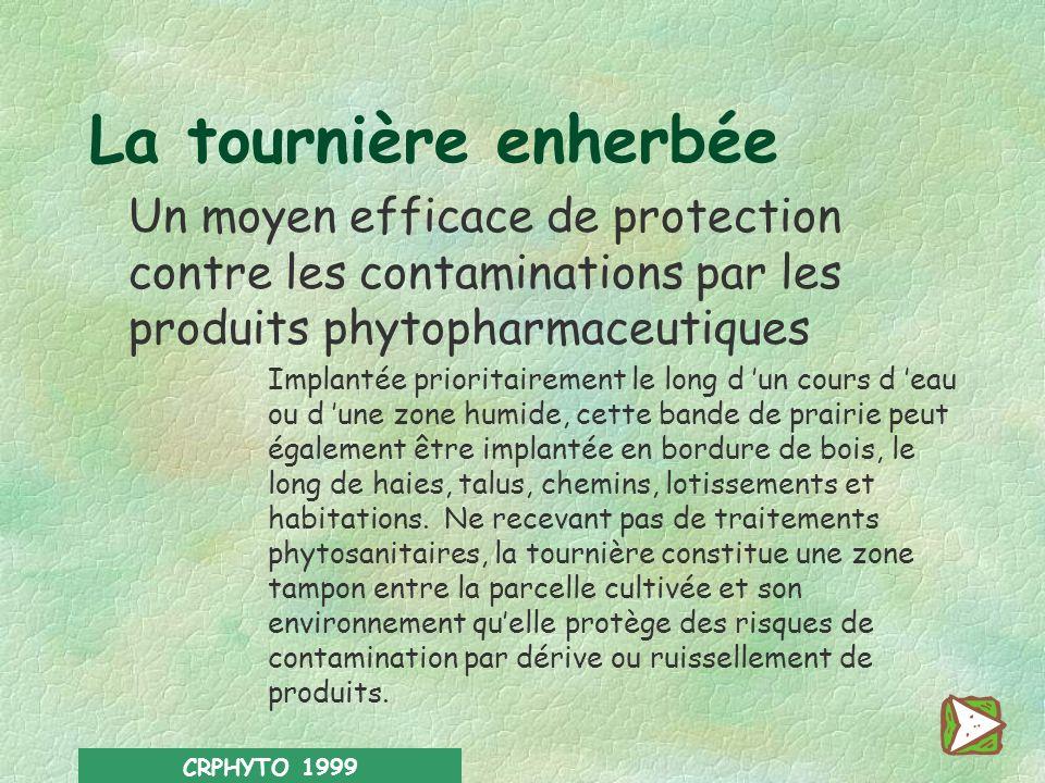 La tournière enherbée Un moyen efficace de protection contre les contaminations par les produits phytopharmaceutiques.