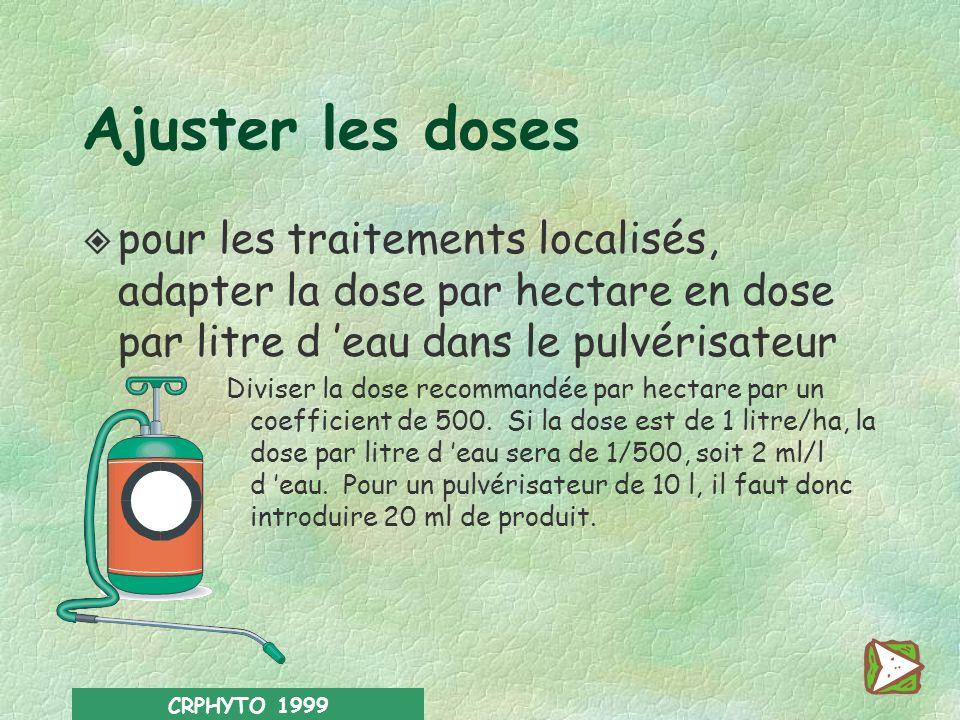 Ajuster les doses pour les traitements localisés, adapter la dose par hectare en dose par litre d 'eau dans le pulvérisateur.