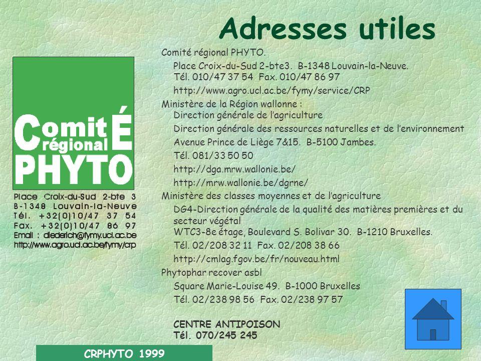 Adresses utiles CRPHYTO 1999 Comité régional PHYTO.